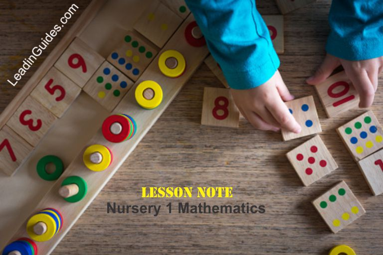 Lesson Note Nursery One Third Term Mathematics week 2